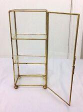 "Vintage Rectangular Curio Cabinet Showcase Glass Brass Edging W/ Door 10"" Tall"