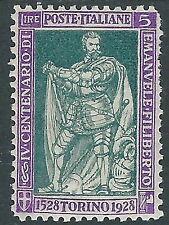 1928 REGNO FILIBERTO VITTORIA 5 LIRE MH * - Y220
