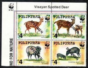 Philippines SPECIMENS – 1997 World Wide Fund (WWF), Se-tenant B/4, MNH OG