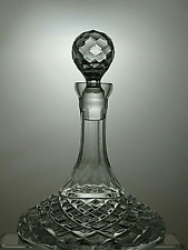 More details for lead crystal cut glass ships decanter with stopper 10 1/2