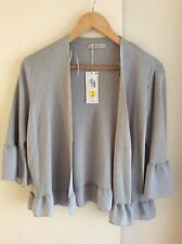 Ladies M&S Per Una Cropped Bell Sleeve Cardigan. Size 16. Silver Grey. NEW