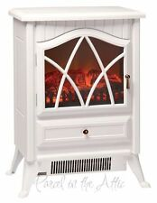 Small Stove Heater 1850W WHITE Log Burning Flame Effect