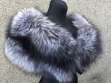 Extra Wide Silver Fox Fur Shawl Collar Stole 47' Inch. (120cm) Saga Furs Boa