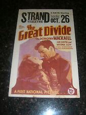 "THE GREAT DIVIDE Original 1929 Movie Window Card, 14"" x 22"", C7 Fine/Very Fine"
