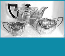 English sterling silver individual (bachelor) Tea set pieces  SHEFFIELD 1905 -6