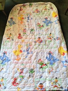 Vintage Seasame Street Twin Size Quilt Blanket Comforter Sports Print
