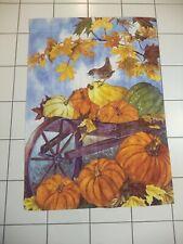 Fall House Flag Pumpkins, Bird, Wagon