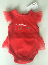 BNWT Baby Girls 000 0-3 Months Cute Red Christmas Print Sleeveless Romper Suit