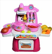 Kids Role Play Mini Kitchen Cooking Set Pretend Food Playset Battery Powered