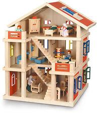 Möbliertes 3-stöckiges Puppenhaus mit Möbeln Holz Holzpuppenhaus Holzhaus NEU