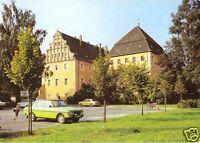 AK, Lübben Spreewald, Blick zum Schloßturm, PKW Wartburg, 1986