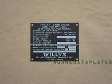 WILLYS TW-6 1 TON TRAILER DATA PLATE BEN HUR TAG GMC DODGE CHEVY G502 G506 G508