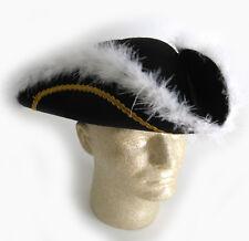 Black 3-Sided Hat 18th Century Soldier Revolutionary War Patriot Adult Costume