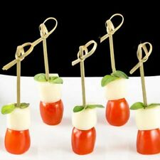 100pcs bamboo cocktail fruit sticks knotted picks party food drink decor 12cm