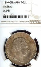 German States Nassau 1846 2 Gulden Coin Taler/Thaler NGC MS 64 Stg/Stg RARE