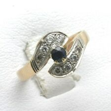 Vintage 14k Blue Sapphire CZ Swirl Ring yellow white gold two tone Estate