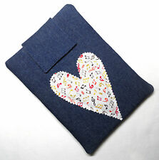Handmade iPad mini & Kindle Fire case/cover/pouch. Denim and cotton.