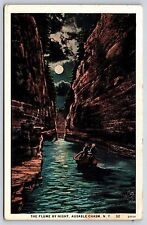 The Flume by Night in Ausable Chasm, New York White Border Postcard Unused