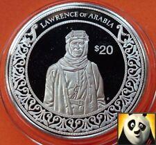 1997 liberia 20 dollars du monde conquérant lawrence d'arabie silver proof coin