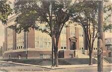 Lancaster Ohio High School Street View Antique Postcard K48061