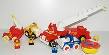Vintage 1987 Tonka Toy Fire Truck Engine Police Car Taxi Boat 5 Figures Bundle
