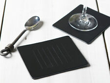 Set of 4 BLACK EMBOSSED Leatherboard COASTERS