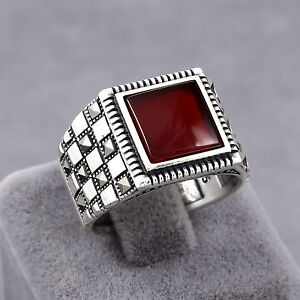 Turkish Handmade Men Ring Checkered Design Red Ruby Marcasite Sterling Silver