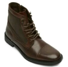 KENNETH COLE REACTION MASYN MEN'S BROWN LEATHER COMBAT ANKLE BOOTS ZIP FASHION