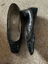 Ladies Gabor Black Leather Patent Mock Croc Court Shoes (Size 5.5)
