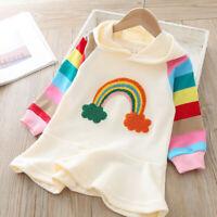 Toddler Kid Baby Girl Rainbow Ruffle Stripe Hooded Long Sleeve Mini Dress Outfit