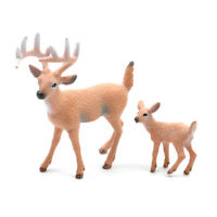 Miniature Deer Family Toy Figurines White-Tailed Reindeer Wild Animal Home Decor