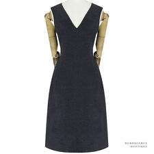 Jil Sander Dark Charcoal Grey Felted Wool Angora V-Neck Shift Dress FR36 UK8