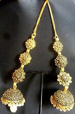 South Indian 22K Gold Plated Chand Bali Jhumka Jhumki Drop Party Earrings Set c