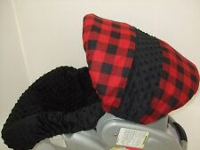 RED&BLACK BUFFALO PLAID/MINKY INFANT CAR SEAT SLIP COVER Graco-custom available