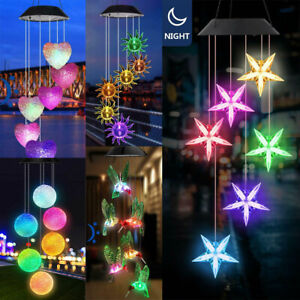 Solar Powered LED Light Hanging Wind Chimes Colour Changing Outdoor Garden Decor