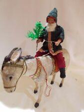 German ~ Unusual Green Poke-a-dot Coat Santa Riding A Donkey
