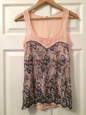 OASIS Baby Pink Corset Print Vest Top Size XS 6 8 Black Sheer Sequin Floral Lace