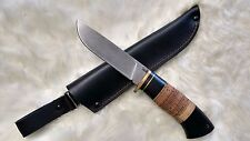"Midsize Hunting Knife ""HANA"", Damascus; Birchbark with Hornbeam combo handle"