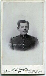 Orig. Pappfoto STRASSBURG /STRASBOURG Elsass Atelier Mehlbreuer, Soldat um 1900