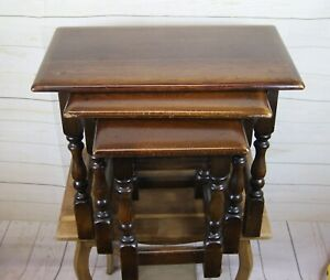 Antique Style Dark Oak Nest of 3 Occasional, Side, Lamp Tables or Joint Stools