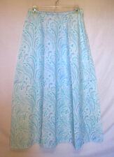 TALBOTS Sz 6 Skirt Blue White Long Maxi Linen Paisley Modest Career Classic B33