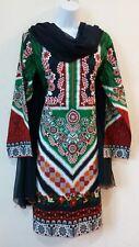 Pakistani / Indian 3PC Shalwar Kameez Multi  Printed Women Medium Cotton