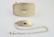 ANTIQUE STERLING SILVER SET MATCHING BELT BUCKLE & WATCH CHAIN WITH BELT LOOP