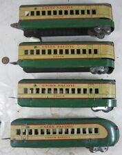 4 Vintage O Gauge Marx Green Union Pacific Streamline Train Cars M-10000
