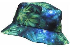 GREEN MARIJUANA GALAXY BUCKET HAT WEED LEAF UNIVERSE SPACE PRINT BOONIE CAP NWT