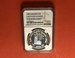LEBANON-10 LIVRES SILVER PROOF COIN,WINTER OLYMPIC 1980,GRADED BY NGC PF69UCAM.R