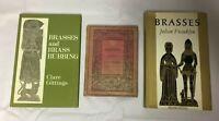 3x Brasses Books Brasses and Brass Rubbing Gittings Franklyn J.S.M Ward 1912