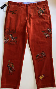 Polo Ralph Lauren Corduroy Rugby Pants Classic Fit Orange 40x32 Embroidered $198