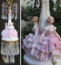 SWAG lady lamp vintage Porcelain Brass 3girls dress crystal chandelier bead 1of2