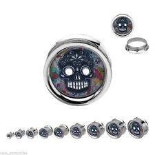 """PAIR-Sugar Skull Colorful Steel Screw On Plugs 11mm/7/16"""" Gauge Body Jewelry"""
